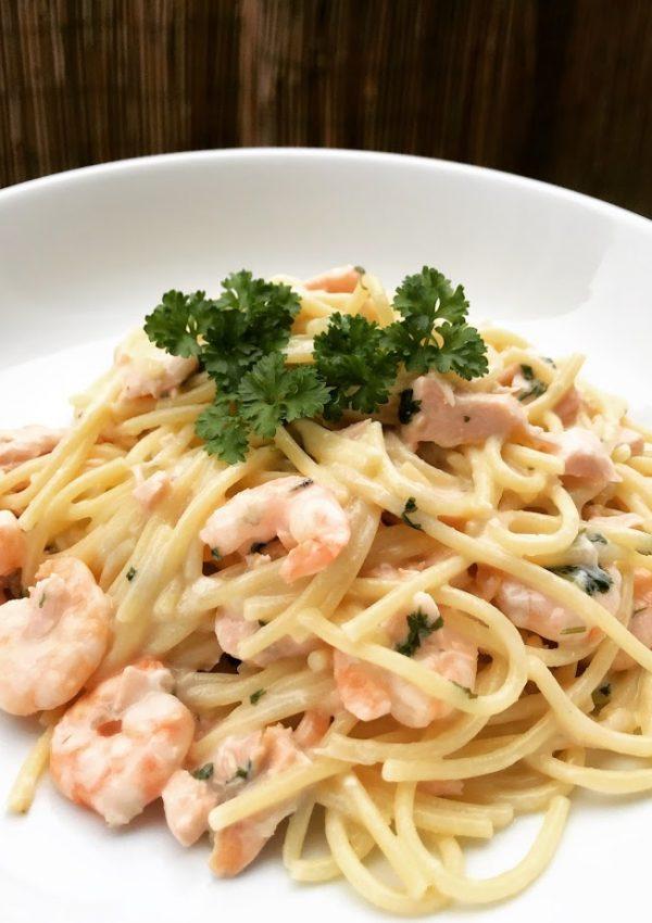 Salmon & Prawn Spaghetti