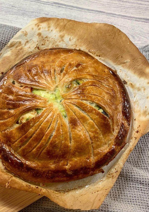Butternut squash, courgette & stilton pie