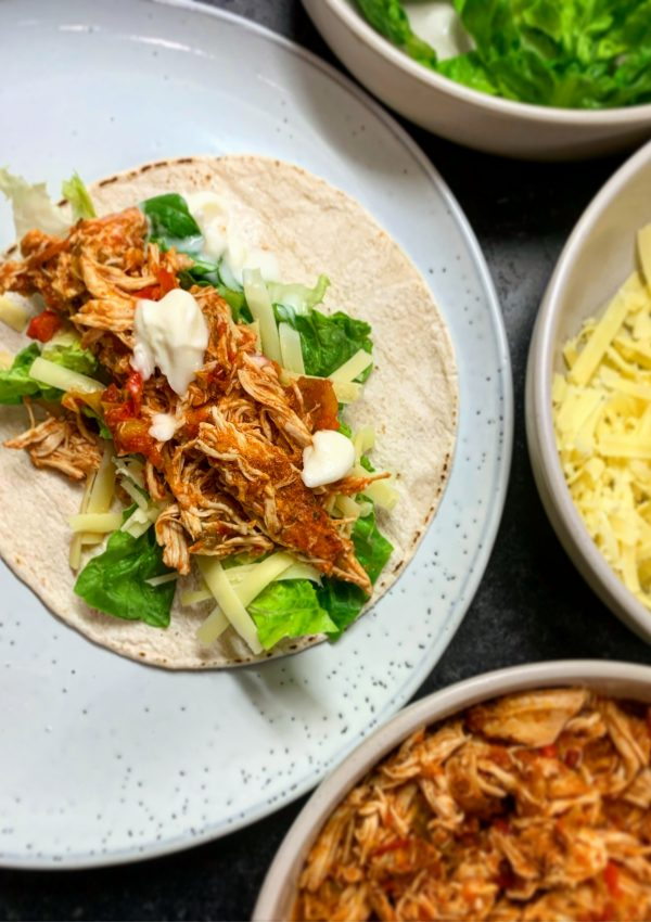 Slow-Cooked Pulled Chicken Fajitas