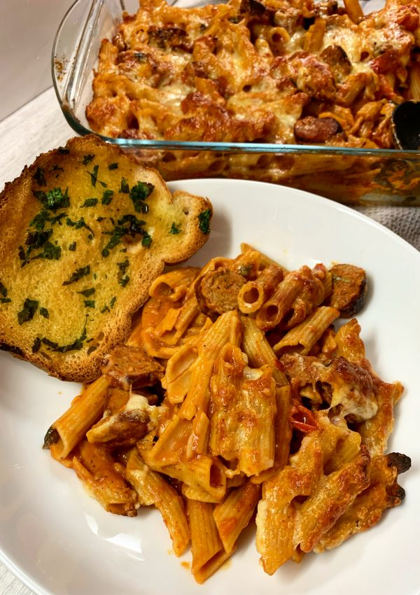 Sausage Pasta Bake with Garlic Bread